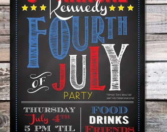 July 4th Party Invitation - Modern - Black, Red & Blue - 5 X 7  (Digital File Version Available)