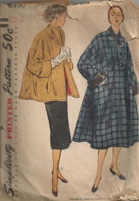 1952 Women S Swing Coat Or Jacket Simplicity 8490 Size 16