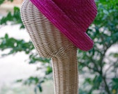 bright PINK straw BOWLER boater ladies hat 1980s