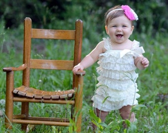 Cream Ruffled Lace Petti Romper Photography Prop Photo Shoot