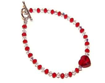 Swarovski Red Crystal Heart Anklet,  Red Heart Jewelry, Sweetheart Bracelet, Gift for Little Girl, Gift for Her, Red Crystal Anklet