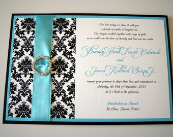 Brandy's Aqua and Damask Custom Pocket Wedding Invitation