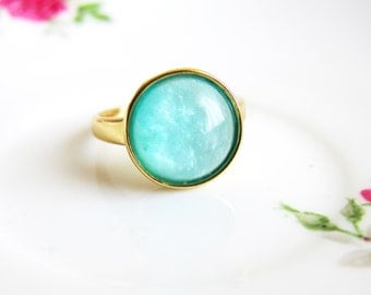 Turquoise Ring Frozen Ring Aqua Blue Mint Green Ring Modern Jewelry Classy Minimal Summer Fashion Frosty Ice Berg Winter Theme
