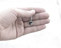 Tiny Full Moon Necklace- Real Moon Photograph Jewelry- Black & White- 925 Sterling Silver Chain- Petite