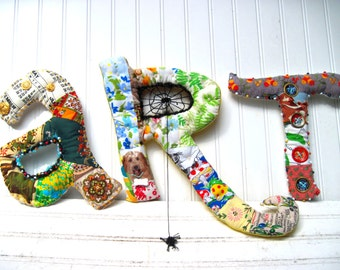 Custom wall art letters handmade wall art letters upcycled fabric art mixed materials plush quilted alphabet