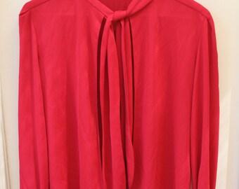 Red Tie Bow Collar Cardigan