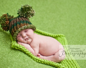 Baby Boy Hat Newborn - Knitted with Pom Poms Green and Brown Camo