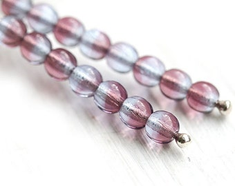4mm Blue Purple Czech glass round beads, Violet Lilac spacers, druk - approx.100Pc - 0765