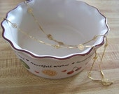 Vintage AVON Goldtone Sleek Bar and Floral Cutout Circular Disc Link Necklace