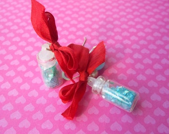 Enchanted Kawaii Pixie Dust all in a Bottle with a Silk Bow Earrings