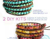 2 leather wrap bracelet kits: turquoise and red agate leather wrap beads supplies & instructions