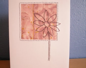 Pink Greetings Card, Stitched Flower Card, Blank Card, Birthday Card