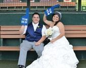 Photobooth Props - Royal Blue Team Bride & Team Groom Foam Fingers - Dodger Blue