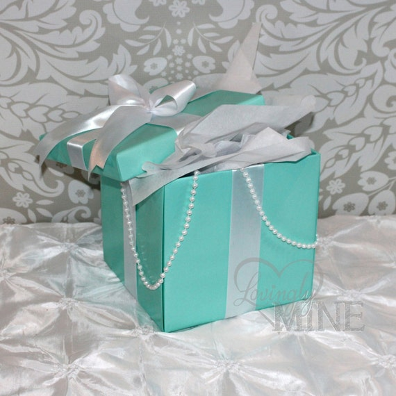 items similar to large centerpiece box with lid robin egg blue white satin ribbon faux pearl. Black Bedroom Furniture Sets. Home Design Ideas