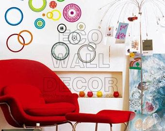 PEEL and STICK Removable Vinyl Wall Sticker Mural Decal Art - Multi-Color Circle Spindles Polka Dot
