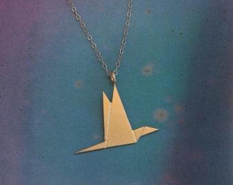 Origami Flying Bird Necklace , Gold Paper Crane Jewelry , Golden Bird Jewelry , Gift for Women , Origami Bird , Bird Charm , Bird Pendant