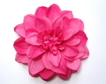 Pink Bridesmaid Hair Flower: Pin, Hair Clip, or Fascinator - Bright Pink Dahlia