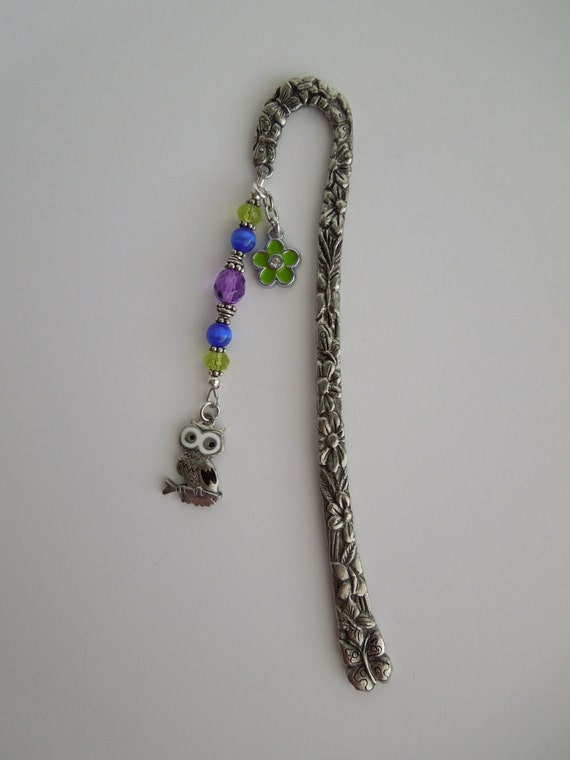 Custom Listing For Astrid - Flower and Butterfly Bookmark w/Owl and Green Flower