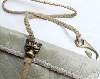 Beige folded leather Clutch Leopard Charm handbag purse Genuine Leather Envelope Beige Powder colour small bag worn effect one of a kind