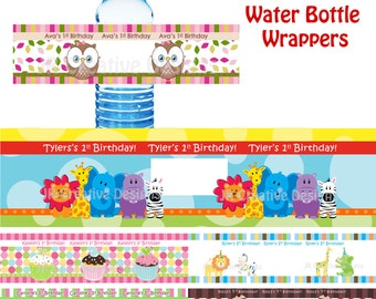 water bottle labels, water bottle wrappers, water bottle lables, personalized water bottle Labels, Girl Boy Birthday Party printable DIY PDF
