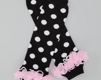 Black and White Dot Legwarmer with Pink Tutu     Free Shipping