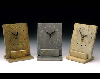 Desk clock of slate with a minimal design, great gift for your office friends