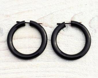 Hoop Post Earring Black Horn Handmade Tribal Style - Gauges Plugs Bone Horn - PE020M H G2