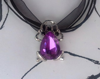 Handmade Purple and Silver Lucky Frog Bracelet on a Ribbon Cord Gothic Steampunk Emo Punk