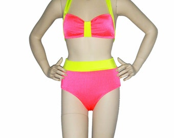 Retro inspired swimsuit, Neon coral and yellow High waisted bathing suit, pinup bikini