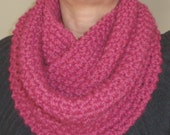 Chunky Raspberry color Infinity Scarf, Cowl, and Neck Warmer
