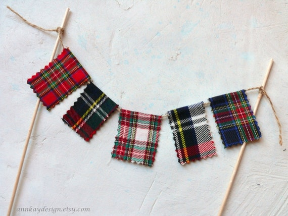Plaid Wedding Cake Topper Bunting Tartan Mini Fabric Pennant Banner