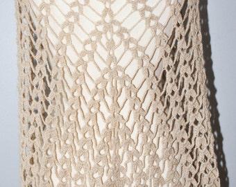 Beige crochet shawl