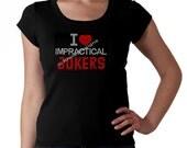 Custom Listing for Dawnie - I Love Impractical Jokers RHINESTONE Short Sleeve T-shirt