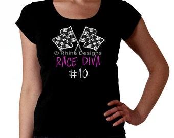 Race Diva Custom RHINESTONE t-shirt tank top sweatshirt S M L XL 2XL - bling racing car bike boat motorcross Sprint Nascar stock bmx motorcy
