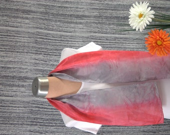 Pink and Grey Striped Hand Dyed Silk Scarf