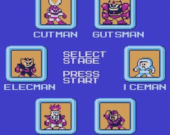 Mega Man stage select cross stitch pattern