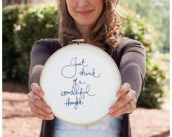 Blue embroidery hoop art / wedding decor / white fabric wall hanging / peter pan quote / 6 inch size / custom made