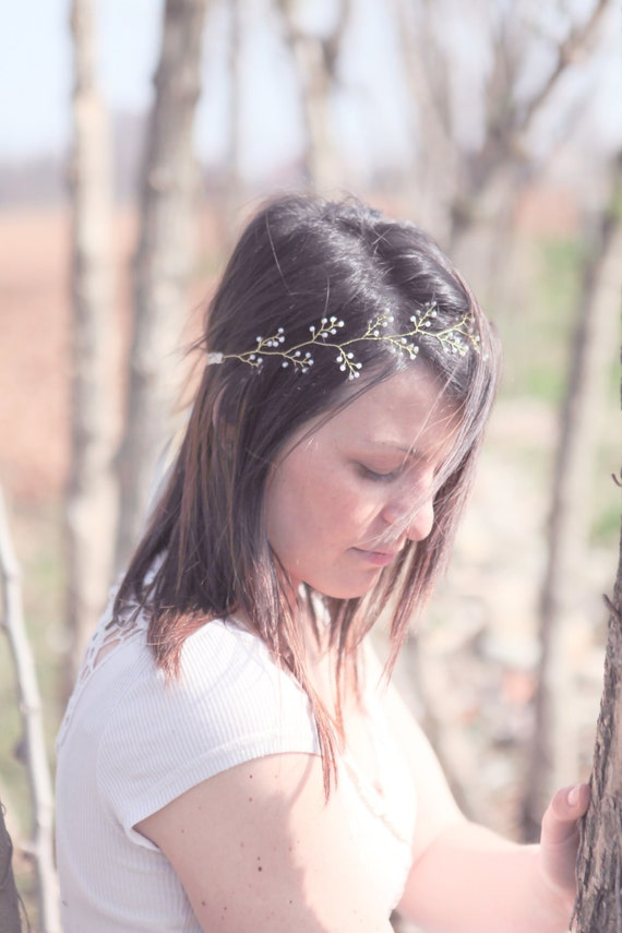 Bridal Greek headband, pearls hair circlet, Grecian headwrap, leaf hair crown, wire wrapped hair wreath, gold wire - LAST PIECE - ADELINE