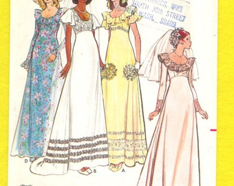 Vintage 1972 Butterick 5746 Misses' Retro, Boho, Bridal Gown and Bridesmaid Dress, Size 10