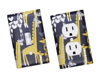 Giraffe Light Switch Plate & Outlet Cover / Yellow Gray / Children Kids Room / Baby Boy Nursery Decor / Michael Miller