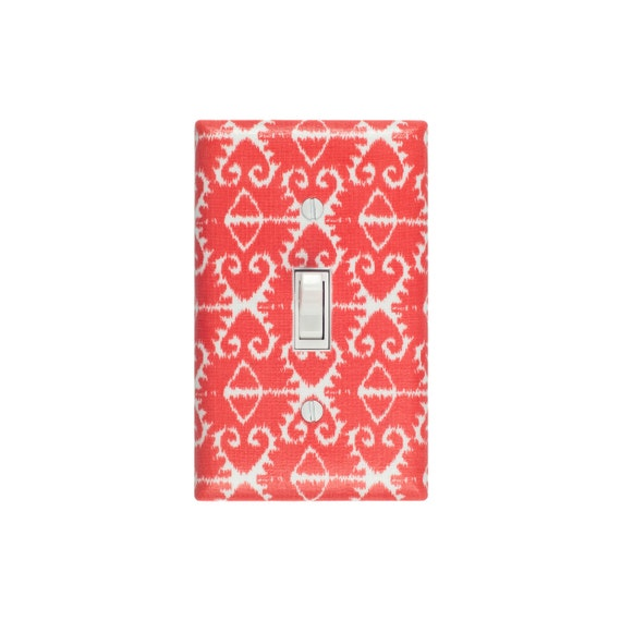 Ikat Light Switch Plate Cover / Coral Orange / Baby Nursery Living Room Dining Room / Sorbet Spa by Michael Miller