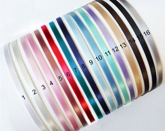 You PIck 5pcs..5mm(0.20inch or 3/16 inch) Satin Ribbon Covered  Metal(Steel) Headbands from 16 colors..Click for the Larger Image