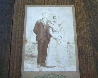 Vintage Cabinet Card Photograph 1800s Victorian Bride and Groom 6 1/2 x 4 1/4