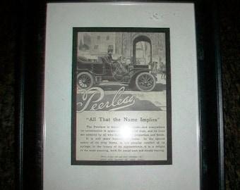 Vintage Automobile Advertisement in Frame Peerless Cars 1907