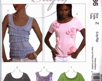 CRAFTY PULLOVER TOPS McCalls Pattern m6036 Misses Sz  Xsm-M or Lg-Xlg Out Of Print Uncut Factory Folded
