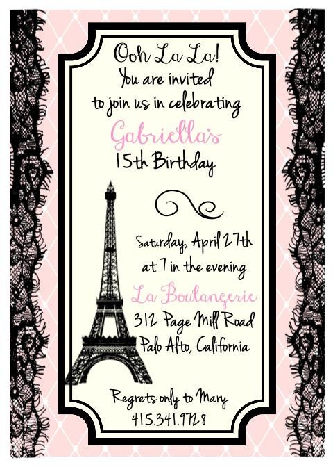 Printed eiffel tower parisian theme birthday bridal shower - Salon des seniors paris invitation ...