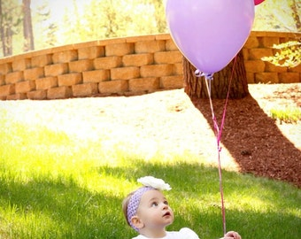 Girls Purple Crochet Headband, Big Fluffy White Dahlia Flower, Rhinestone Center Lavender, Baby Toddler Infant Girls Photography Prop