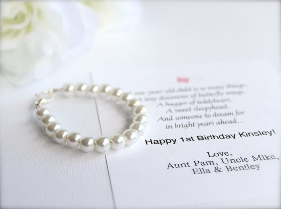 BABY GIRL 1st Birthday Gift Pearl Bracelet with Birthday Card