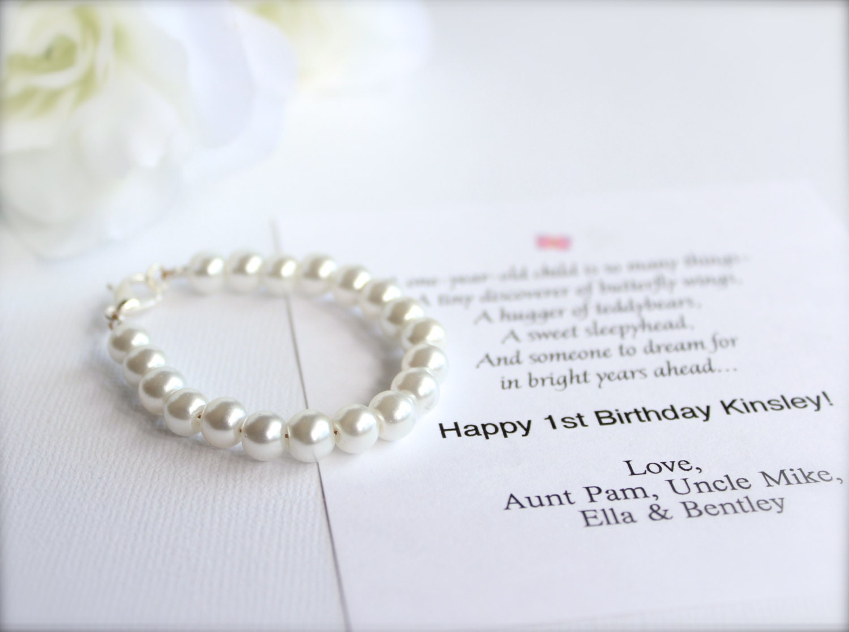 BABY GIRL 1st Birthday Gift Pearl Bracelet with Birthday Card
