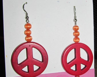 Clearance! Peace Sign Earrings, Red & Orange, Dangle drop pierced hand made